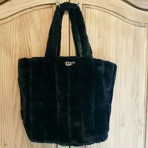 Victoria's Secret Large Black Faux Fur Tote Bag